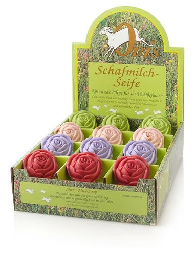 Ovis-Seife Rose 100 g Display 24 Stk. sortiert